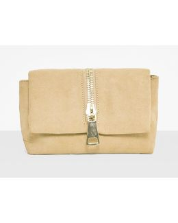 Nude Soft Faux Suede Zip Clutch Bag