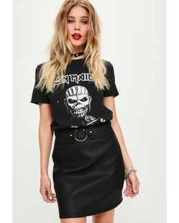 Black Pierce Ring Belted Faux Leather Mini Skirt