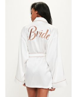 White Satin Embroidered Piped Robe