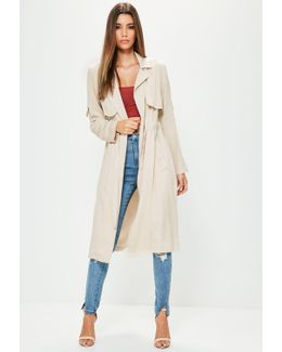 Petite Grey Draw Cord Trench Coat