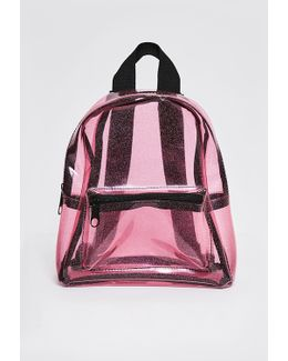 Pink Transparent Glittery Backpack