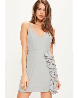 Grey Crepe Strappy Ruffle Shift Dress