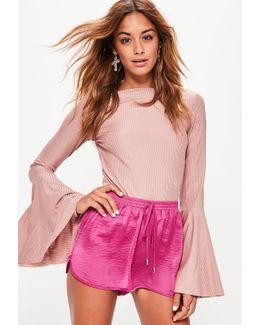 Pink Hammered Satin Back Crepe Runner Shorts