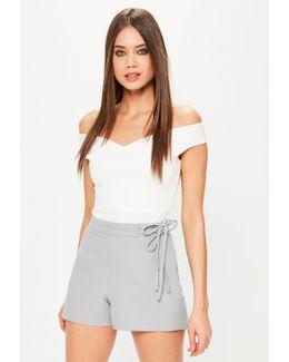 Grey Tie Waist Shorts