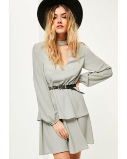 Grey Choker Neck Ruffle Waisted Dress