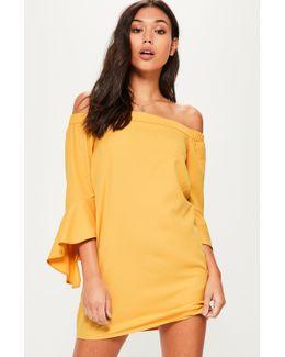 Yellow Bardot Ruffle Sleeve Shift Dress