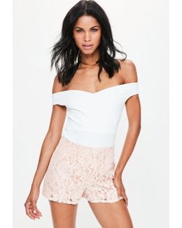 Premium Pink High Waisted Lace Shorts