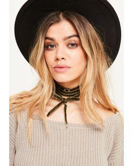 Khaki Velvet Wrap Around Choker Necklace