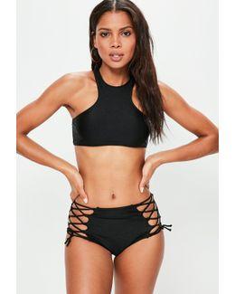 Black Shiny Lace Up Racer Bikini Set