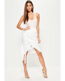 Cream Hammered Satin Tie Side Midi Skirt