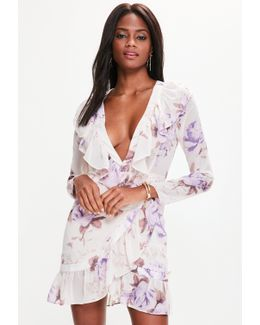 Pink Floral Frill Wrap Sleeve Shift Dress