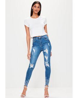Blue Sinner High Waisted Chewed Hem Skinny Jeans