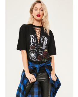 Black Lace Up Rose Graphic T-shirt
