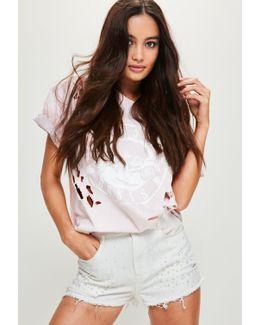 White High Waisted Pearl Denim Shorts