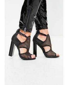 Black Mesh Paneled Block Heel Sandals
