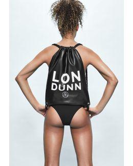 Londunn + Black Faux Leather Drawstring Bag