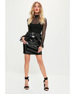 Black Vinyl Buckle Mini Skirt