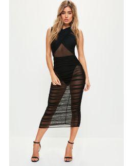 Black Sleeveless Mesh Wrap Ruched Maxi Dress