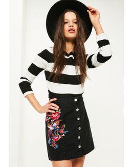 Black Button Embroidered Denim Mini Skirt