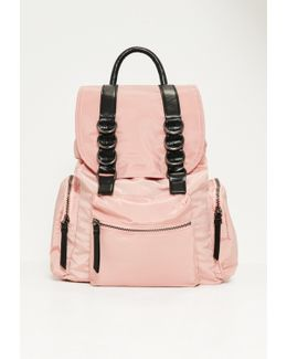Pink Three Pocket Nylon Backpack