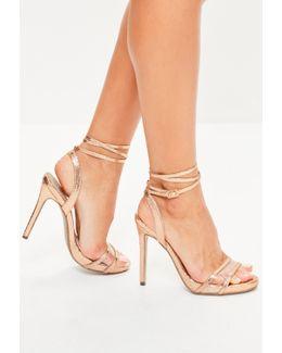 Rose Gold Perspex Vamp Ankle Tie Sandals