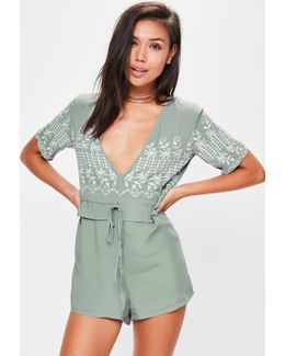 Green Frill Waist Embroidered Romper