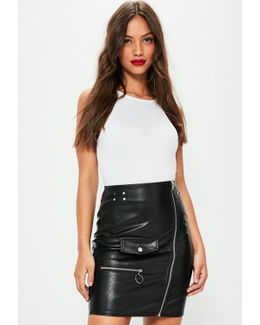 Tall Exclusive Black Faux Leather Mini Skirt