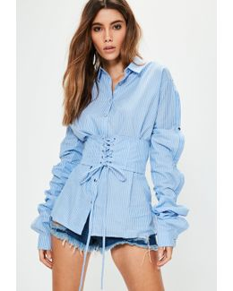 Blue Striped Corset Button Sleeve Oversized Shirt