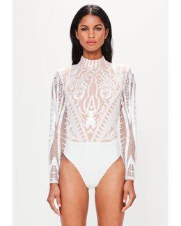 Peace + Love White High Neck Lace Bodysuit