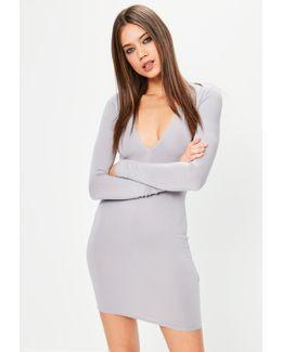 Grey Plunge Long Sleeve Bodycon Dress