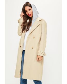 Beige Hooded Contrast Trench Coat