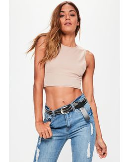 Nude Split Side Ribbed Crop Top