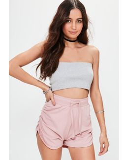 Pink Jersey Ruched Side Runner Shorts