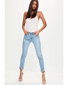 Blue Sinner High Waisted Split Hem Skinny Jeans