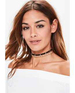2 Pack Star Studded Choker Necklaces