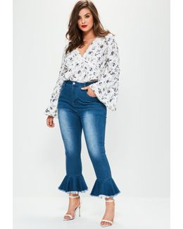 Plus Size Blue High Waisted Frill Flare Jeans