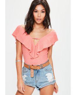 Pink Frill V Back Bodysuit