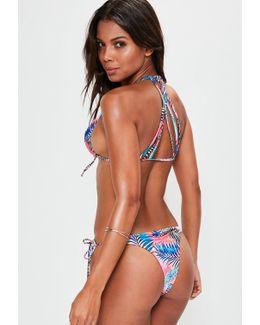 Pink Tie Dye Fern Leaf Print Strappy Bikini Set
