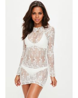 White Long Sleeve Lace Cover Up