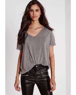 Petite Boyfriend V Neck T Shirt Grey