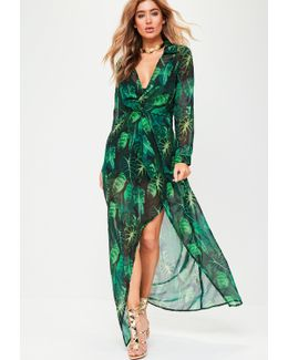 Green Long Sleeve Wrap Print Maxi Dress