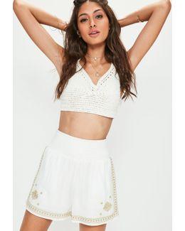 White Shirred Waist Gold Embroidered Shorts