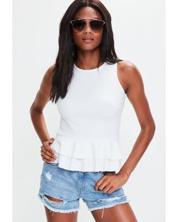 White Sleeveless Peplum Top