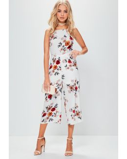 White Racer Front Printed Culotte Jumpsuit