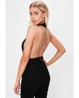 Black Plunge Neck Diamante Back Bodysuit