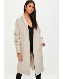 Nude Ruched Sleeve Longline Coat