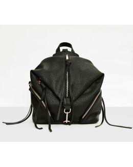 Black Folded Centre Zip Backpack