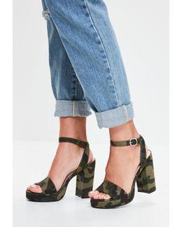 Khaki Camouflage Platform Sandals