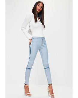 Blue Denim Mid Rise Skinny Jeans