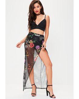 Black Mesh Floral Wrap Over Maxi Skirt